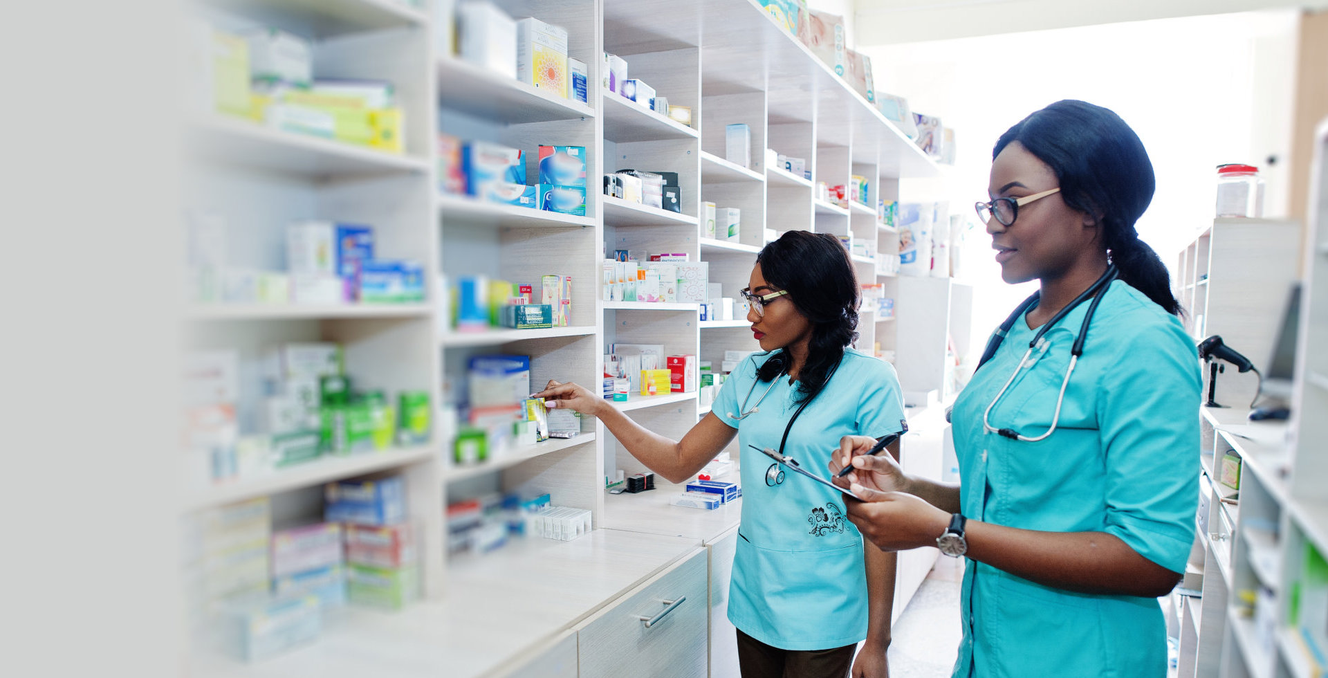 pharmacists checking products